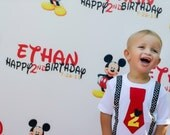 Mickey Mouse Birthday Shirt Red Tie and Disney Dot Suspenders Boys Birthday Shirt , Disney Vacation Shirt, Boy Birthday Outfit