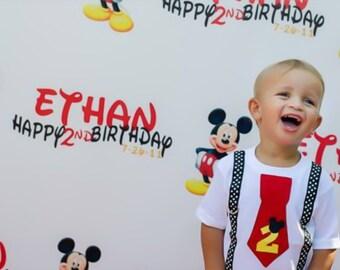Mickey Mouse Birthday Shirt Red Tie and Disney Dot Suspenders Boys Birthday Shirt , Disney Vacation Shirt, Boy Birthday Outfit