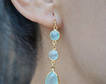 AQUA CHALCEDONY GOLD dangling earrings