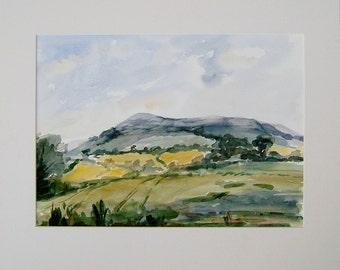 Vintage Art OOAK Painting Vintage Watercolor Painting Vintage Landscape Painting by Jane Horner Eggardon Hill Dorset