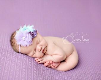 Lilac and Aqua headband, purple flower headbands, aqua headbands, baby headbands, newborn headbands, photography prop