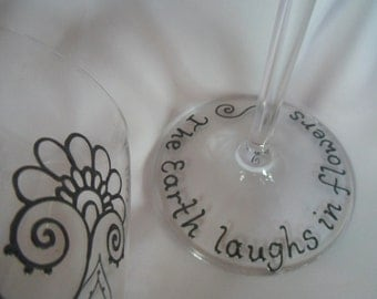 Add On- QUOTE to base of glass up to 24 characters. Custom and PERSONALIZED glassware. A unique gift.