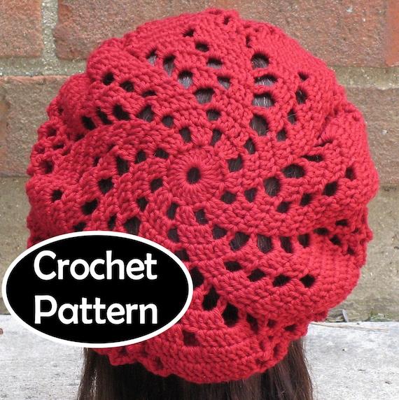 Crochet Hat Pattern Spiral : CROCHET HAT PATTERN Instant Download Pdf Sylvia Spiral Beret