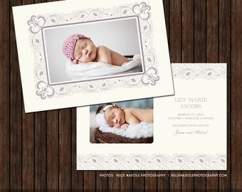 INSTANT Download PSD Classic 5x7 Birth Announcement Card Template - B6