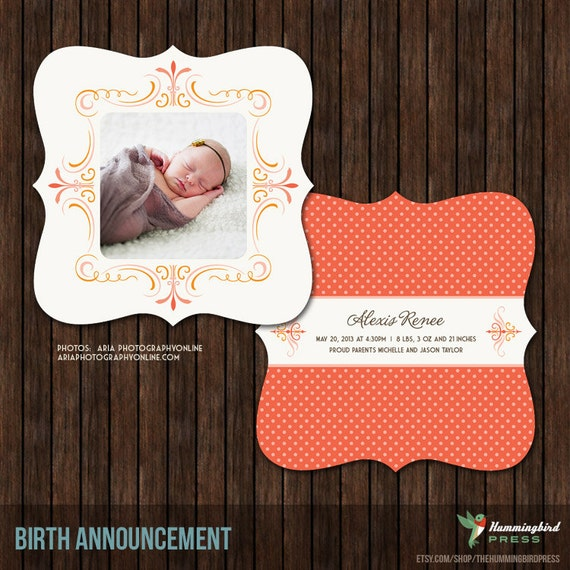 Luxe 5x5 Birth Announcement Card Template - B17
