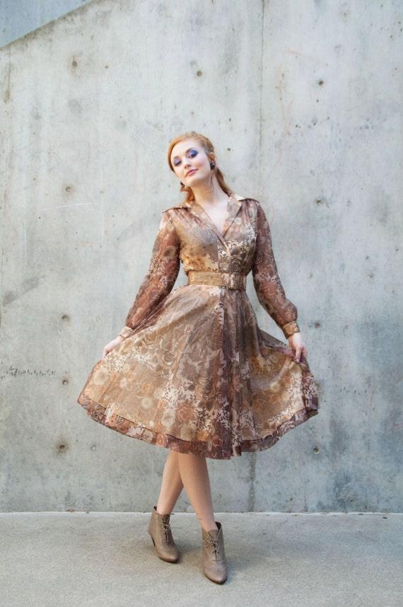 Sale vintage dress chiffon floral sheer brown by for Vintage wedding dresses san diego