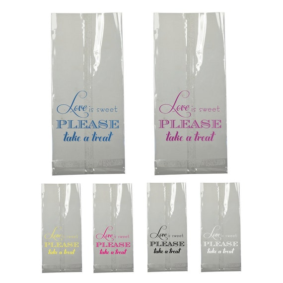 candy bar bag wedding favor love is sweet clear large cellophane cello