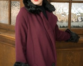 Louise- Mid-1920s inspired wool coat with faux fur collar and cuffs