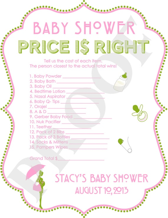 personalized price is right baby shower game pink green printable