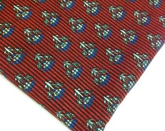 Ajrakh Block Print Cotton Fabric - Maroon and Blue - Floral Block Print - Striped Cotton Fabric