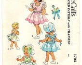 McCall's 1704 Photocopy of Adorable Vintage 50s Toddler Girls Pinafore Dress, Sun Bonnet & Panties Embroidery Transfer Sewing Pattern Size 2