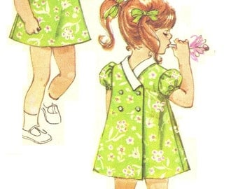 Simplicity 8669 Photocopy of Super Cute Vintage 60sToddler Girls Back Wrap Dress Pattern Size 3