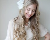 Bridal Hair Flowers, Bridal Hairpiece, Ivory Chiffon Off White