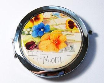Mom compact mirror, compact mirror, pocket mirror, Pansy, flower mirror, floral, gift for Mom, Mothers Day (3062)