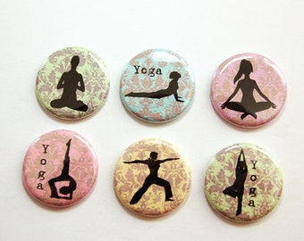 Yoga Magnets, Damask Magnets, button magnets, Locker Magnets, Kitchen Magnets, pastel colors, yoga, damask, stocking stuffer (3294)