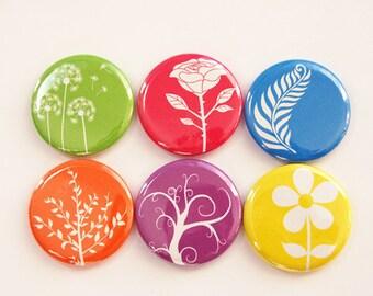 Floral magnets, Flower Magnets, Nature Magnets, button magnets, Flowers, Floral, Kitchen Magnets, bright colors, stocking stuffer (3375)