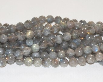 "Labradorite 8mm Round Gemstone Beads - 15.5"" Strand"