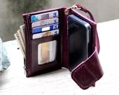 iPhone5/ purple genuine cow leather phone wallet/ case/ Mini zip/ Wristlet strap/ Magnetic