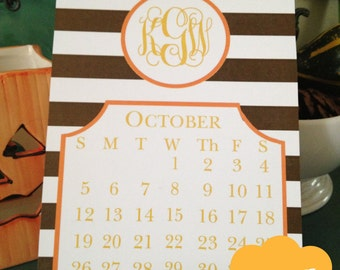 Personalized Monogrammed 2016 Card Calendar