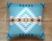 Wool Pillow - Turquoise Aqua - Native Geometric Tribal Southwest Western Arrow