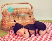 Crocheted Black Ant Hat and Bum Cover Newborn Photo Prop 0-3 Months