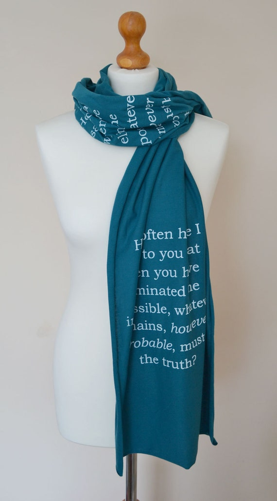 Sherlock Holmes book scarf in petrol blue and white
