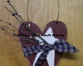 Patriotic Heart Hanger, Wood Ornament, Americana Red White Bue Heart, Heart & Star Accent