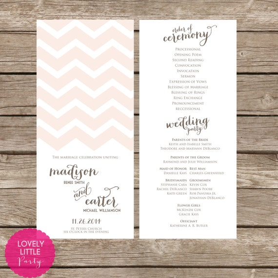 Madison Collection Chevron Wedding Program- DIY Printable - Lovely Little Party - You Choose Color