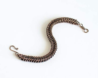 """Copper Chainmaille Bracelet Box Chain Antiqued Copper 7.5"""" Chain Maille Mail Box Chain Bracelet"""