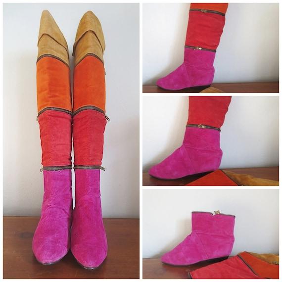Vintage Suede Color Blocked Zipper Boots Size 6