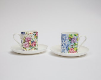 Chintz Bone China Espresso Cup And Saucer Set   Floral Coffee Cup   Vintage Style   Coffee Cup Set