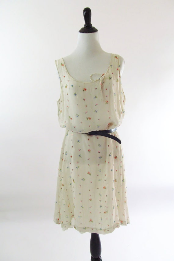 1980s Vintage Cream Silk Tank Dress with sweet little floral print