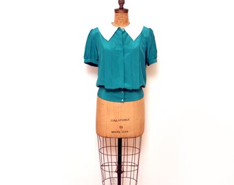 1970s Peter Pan Blouse Small