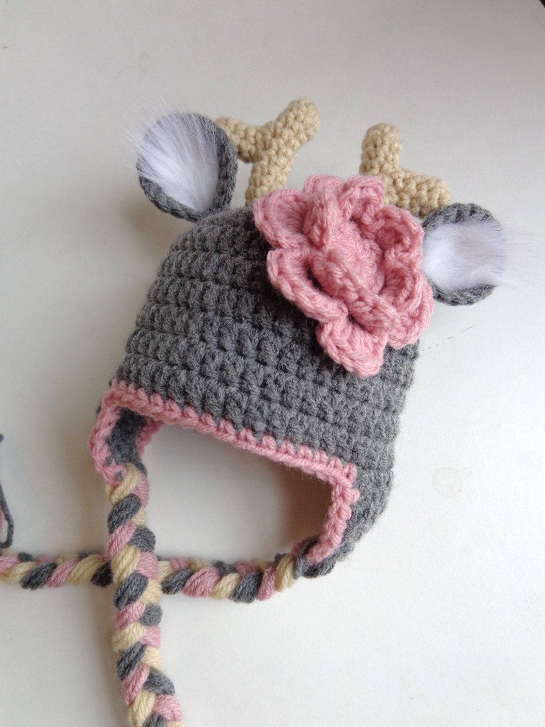 Free Crochet Deer Diaper Cover Pattern : Newborn Crochet Deer Hat Photo Prop Boy Girl White Tail