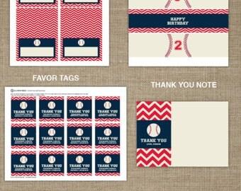 Baseball Printable - Baseball Birthday - Sports Birthday - Sports Printable - Party Decorations - Boy Birthday - Chevron Printable - Ball