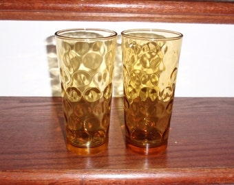 """2  L G WRIGHT Glass Company Amber Yellow Crystal 6 1/4"""" Thumbprint Flat Tumblers Glasses 16 Oz Two Large Excellent Condition"""