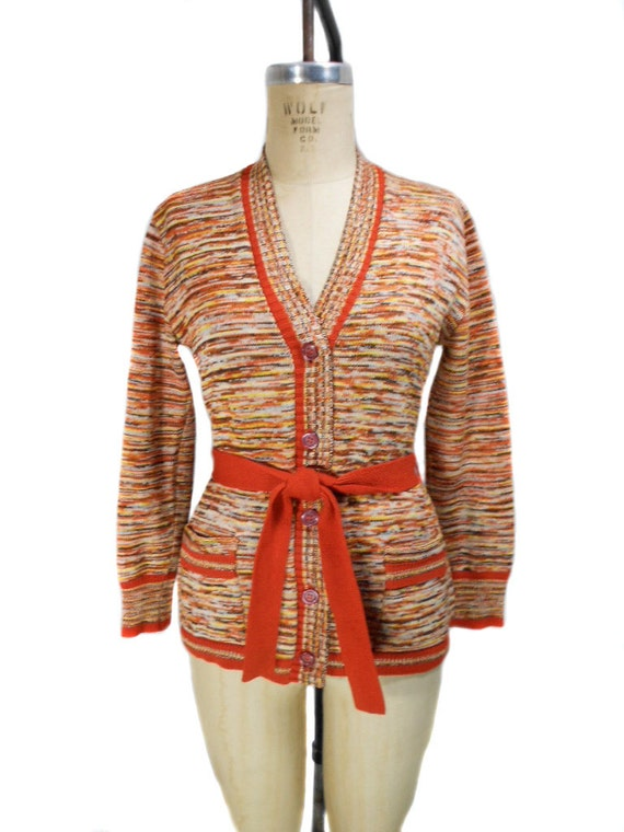 1970s Space Dye Cardigan Sweater / Orange Speckle / Belted Cardigan / Autumn Fall / Womens Vintage Sweater / Size Medium