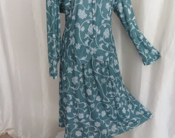 Vintage dress, 80s womens two piece suit, teal turquoise gray white floral, blouse skirt,  L XL
