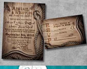 Rustic Wedding Invitation with matching response card - DIY - Printable - Customizable - Western - Country