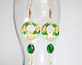 Dangle modern statement earrings with large green and gold cloisonne, natural citrine, jasper, sterling silver, statement earrings