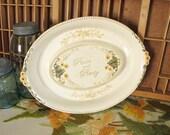 Peace and Plenty Sunflower Harvest Vintage Serving Platter Roasting Pan