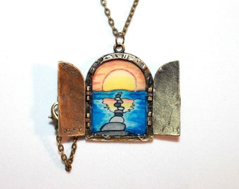 Sunset Open Door Locket Necklace, Follow Your Heart, Walk Your Path, Hand Painted Pendant