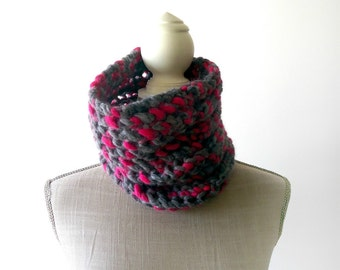 Grey and Pink Knit Cowl, Circle Scarf, Hipster Knit Scarf