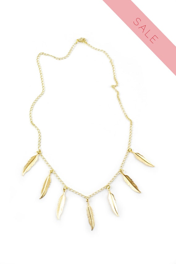 Gold Plated Feather Necklace- Short.