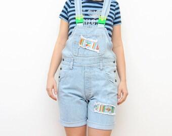 Vintage light blue denim 90s neon overall women shorts