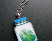 Laser Cut Brain In A Jar Necklace