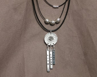 Necklace-Leather Jewelry-Charm Necklace-Leather Necklace-Word Charm-Silver Charms-Black Leather-Black and Silver-Beaded Leather Neclace