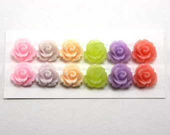 12 pcs Resin Flower Cabochons - 10mm Rose - Fruit Smoothie Colors Mix