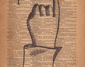 Letter I, Wall Art, Rustic Home Decor, Finger Spelling Sign Language Typography Print, ASL, 1800's Art Illustration & Dictionary Page
