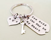 Hand Stamped Personalized Key Chain - You Hold the Key to My Heart Tag with Stainless Initial Heart, Sterling Silver Key Charm - Custom Gif